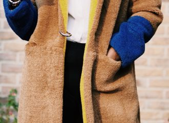 Mango Contrast Faux Fur Teddy Coat