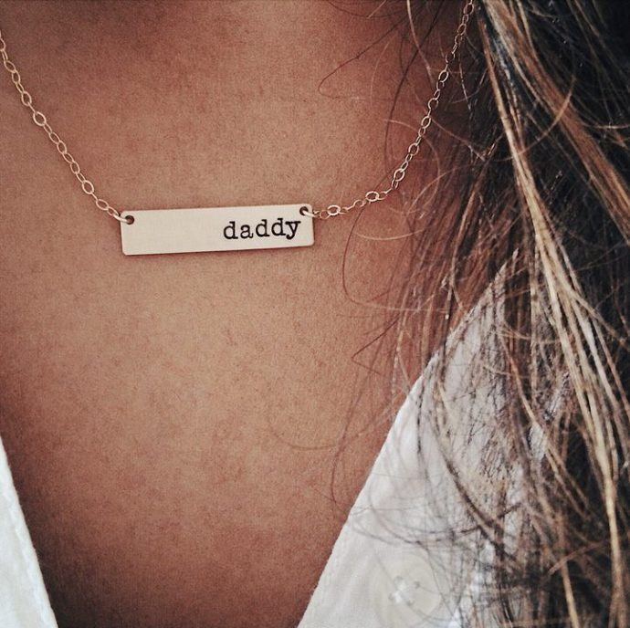 Daddy gold personalised necklace